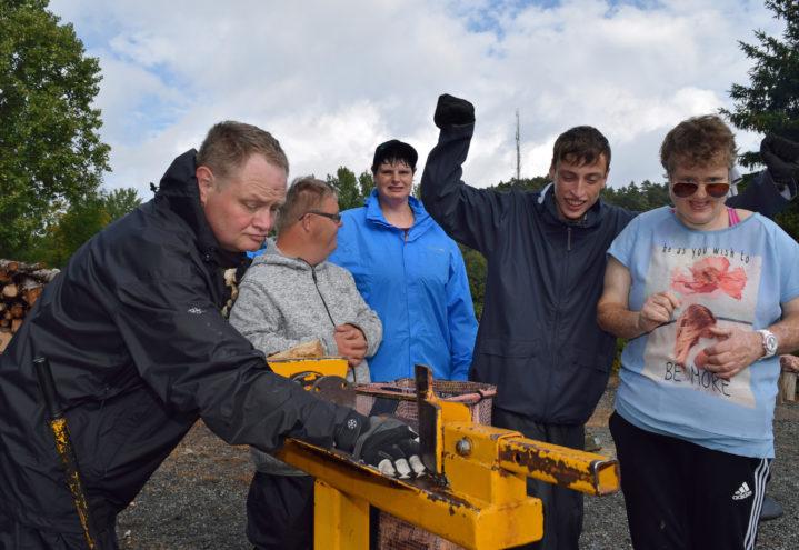 Innsatsen til Stian Haave (fra v), Amund Solvang, Linda Hansen, Martin Hvarnes og Charlotte Lønneberg blir favner med ved som Nustad gård selger i nærmiljøet.